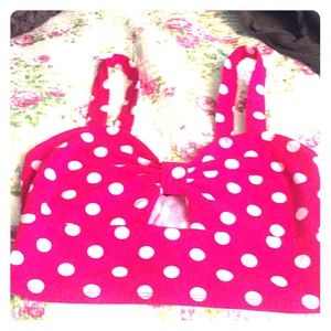 Minnie Mouse red and white polka dot crop top!